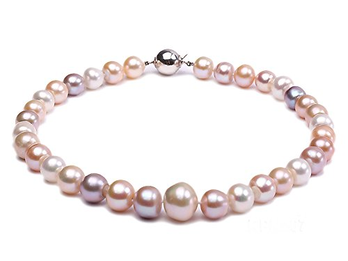 JYX Huge 12-15mm AA Multi-Color Cultured Freshwater Pearl Necklace (Double Graduated Strand)