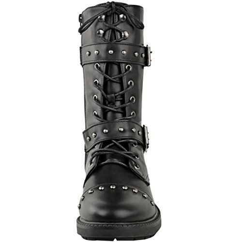 Black Strappy Ladies Leather Size Faux Ankle Metal Studded Boot Flat Winter Calf Biker Womens Chunky Gun High Detail 1qxd6P7