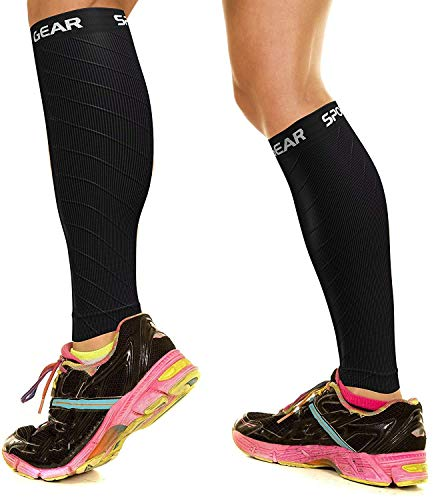 mpression Calf Sleeves for Men & Women (20-30mmhg) - Best Footless Compression Socks for Shin Splints, Running, Leg Pain, Nurses & Pregnancy - Increase Circulation - BLK S/M - M/L ()