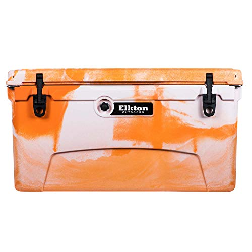 Elkton Outdoors Ice Chest. Heavy Duty, High Performance Roto-Molded Commercial Grade Insulated Cooler, 75-Quart, Orange