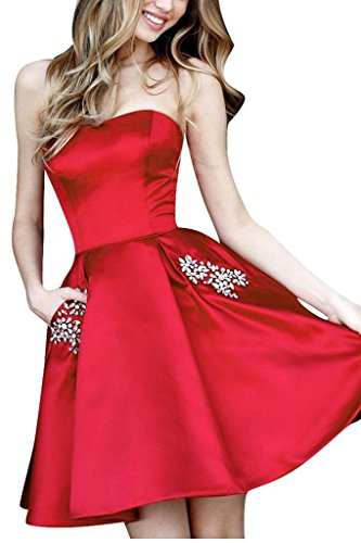BBCbridal Women's Short Satin Homecoming Dresses Strapless Beaded Formal Party Prom Gowns with Pockets Red 8