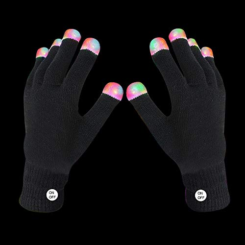 Fun Central R94 1 Pair LED Gloves, LED Rave Gloves, LED Finger Gloves, Light Up Rave Gloves