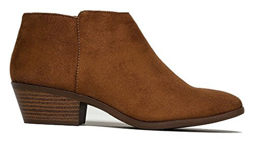 (SODA Women's Round Toe Faux Suede Stacked Heel Western Ankle Bootie Cognac Faux Suede 8.5)