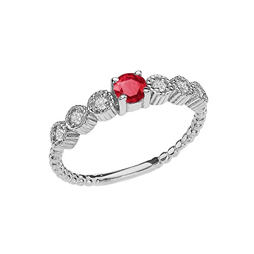 Gold Genuine Ruby Ring - 14k Diamond Stackable/Promise Beaded Popcorn Collection Ring in White Gold With Genuine Ruby Center Stone (Size 7)