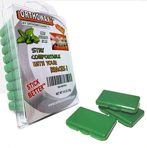 Genuine OrthowaxTM Packed in Mint Scented Green Cases - Orthodontic Dental Waxes - Stick Better Than Competitors - The Most Popular Orthodontic Wax - by Orthomechanics - Recommended by Doctors