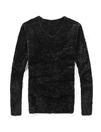 JXG Men Autumn Pullover Slim Fit Knit V-Neck Long Sleeve Mohair Sweater