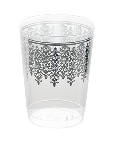 Posh Setting Clear 10 oz. plastic Tumblers (cups) with Silver Ornament Design 10 Pack