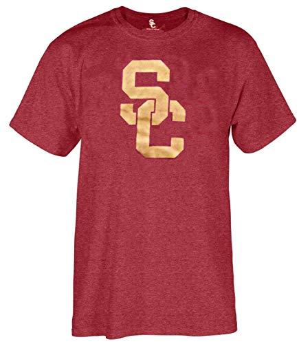 (289c apparel USC Trojans Cardinal Mens Worn SC Interlock Short Sleeve T Shirt (Large))