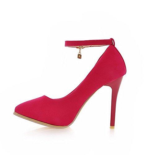 VogueZone009 Damen Nubukleder Rein Schnalle Spitz Zehe Stiletto Pumps Schuhe Rosa