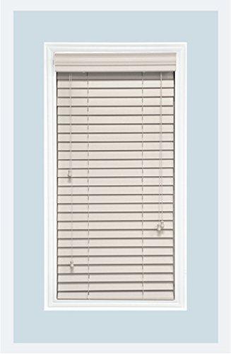 Custom-Made, Premium Real Wood Horizontal Window Blinds, 2 Inch Slats, Inside Mount, White, Inside Window Size: 21