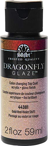 FolkArt 44381 Dragonfly Glaze Multi-Surface Paint, Gold-Red-Violet