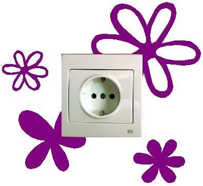 Vinilo decorativo pegatina pared, para interruptor o enchufe, flores: Amazon.es: Hogar