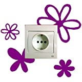 Vinilo decorativo pegatina pared, para interruptor o enchufe (Varios colores a elegir) flores