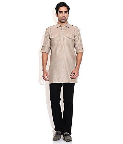 Royal Kurta Men's Summer Wear Fine Cotton Blended Straight Kurta 44 Brown