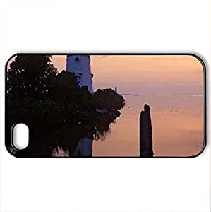 cheboygan range lighthouse michigan - Case Cover for iPhone 4 and 4s (Lighthouses Series, Watercolor style, Black)