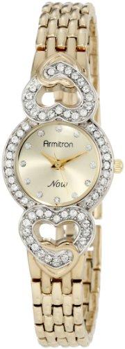 Armitron Women s 753339CHGP NOW Swarovski Crystal Accented Gold-Tone Heart Dress Watch