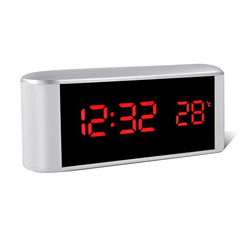 Mirror Clock, HeQiao Multi-fuction Touch Sensitive Large Battery Digital Alarm Clock Mirror Makeup USB Rechargeable Eye-Care Travel Alarm Clock W/ Temperature Snooze for Home Office - (Night Light Musical Mirror)