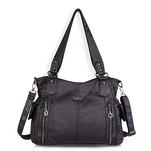 (Women Handbags Shoulder Bags Washed Leather Satchel Tote Bag Mutipocket Purse (1193-2 Black))