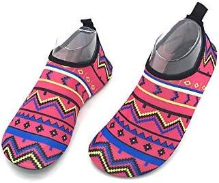 ピンクパターンの女性と男性のウルトラライトビーチシューズシュノーケリングシューズダイビングシューズ水泳シューズ水の靴裸足肌柔らかい靴 ポータブル (色 : Pink, Size : US7.5)