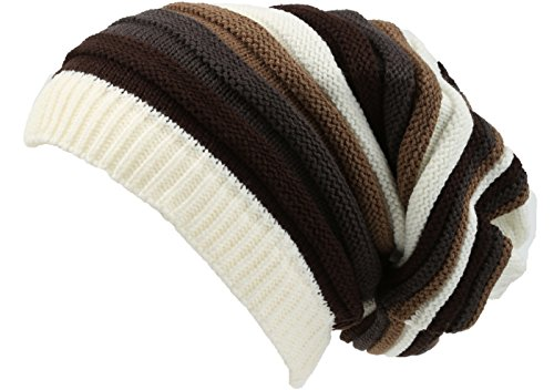 Sakkas 16144 - Ceelo Long Tall Slouchy Unisex Striped Ribbed Kint Adjustable Beanie Hat - Cream / Brown - OS (Brown Striped Beanie)