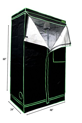 "41xQiIqPjrL - MILLIARD Horticulture D-Door 48"" x 24"" x 60"" 100% Reflective Mylar Hydroponic Grow Tent with Window, Great for Indoor Planting and Early Seedling Starters"