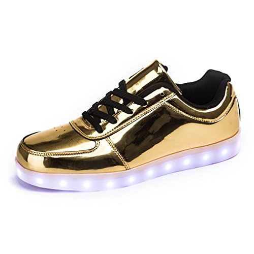 Scarpe Da Annabelz Led Ricarica Usb Light Up Glow Shoes Uomo Donna Moda Sneakers Lampeggiante Luminosa Scarpe Sportive Oro