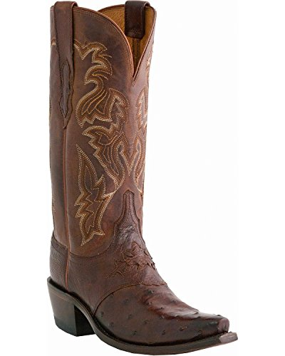 Lucchese Classics Women's M5601 Boot,Sienna Burnished Full Quill Ostrich/Redwood Rodeo Calf,7.5 B (M) US