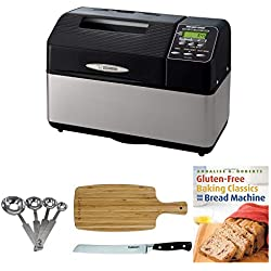 "Zojirushi BB-CEC20 Home Bakery Supreme 2-Pound-Loaf Breadmaker, Black Includes 8"" Bread Knife, Stainless Steel Measuring Spoon Set, Bamboo Cutting Board and Breadbook"