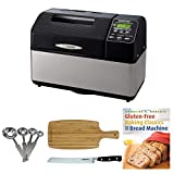 """Zojirushi BB-CEC20 Home Bakery Supreme 2-Pound-Loaf Breadmaker, Black Includes 8"""" Bread Knife, Stainless Steel Measuring Spoon Set, Bamboo Cutting Board and Breadbook"""