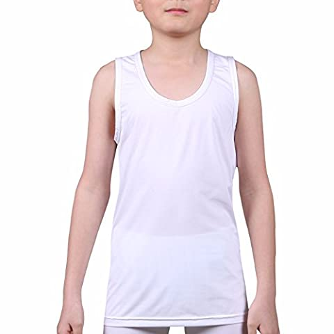 Kids Compression Tank Top Underwear Boys Youth Base Layer Sleeveless Shirt RK WH L