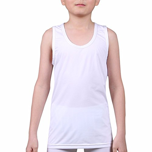 Kids Compression Tank Top Underwear Boys Youth Base Layer Sleeveless Shirt RK WH L (Sleeveless Base)