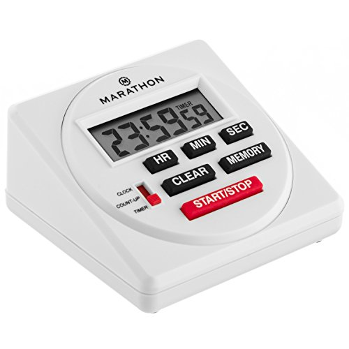 MARATHON TI080001 Large Digital 24 Hour Timer with Countdown, Count-up and Clock Feature - Batteries - Kitchen Timer Electronic