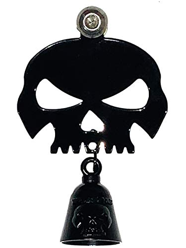 Kustom Cycle Parts Universal Gloss Black Skull Bell Hanger With Gloss Black Bell - Bolt and Ring Included. Fits all Harley Davidson Motorcycles & More! Proudly MADE IN THE USA! (Gloss Black)