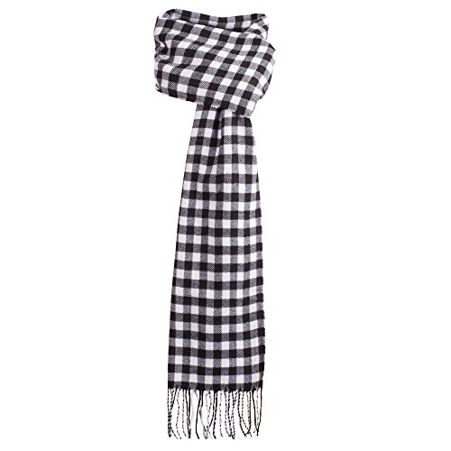 SCF013-White and Black Fine Check Woven Scarf