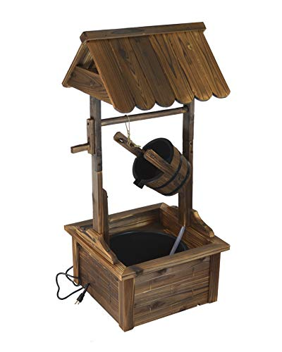 (Water Fountains Outdoor Wishing Well Wood Patio Fountain with Pump SKU: PL50002)