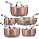 Dealz Frenzy Tri-Ply Copper Non-Stick Cookware Sets - Induction Bottom and Oven-Safe Pots and Pans Set, Stainless Steel Cooking Pots, PFOA Free, FDA,Dishwasher Safe,Mother's Day Gift,8-Pc Rose Gold