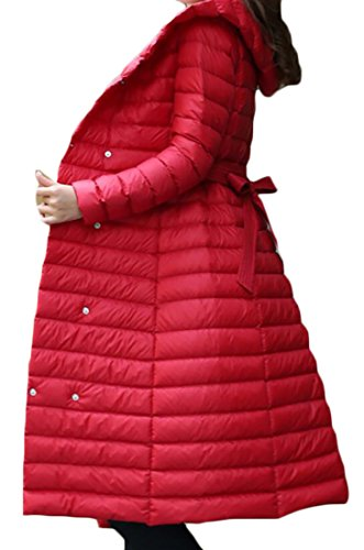 Packable Light Down Puffer Winter Belt amp;W Long Women's Parka Hooded with Outwear Coat M amp;S Red Jacket Weight q1nP4wPH