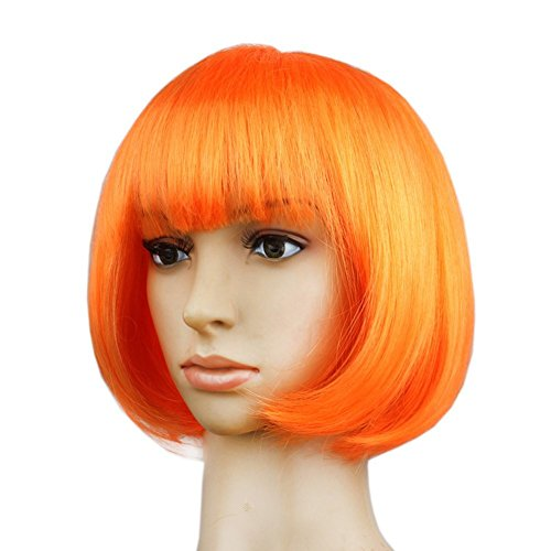 Short Straight Fiber Cosplay Wigs for Women Halloween Costume Hair Orange Wig (Color Wig)