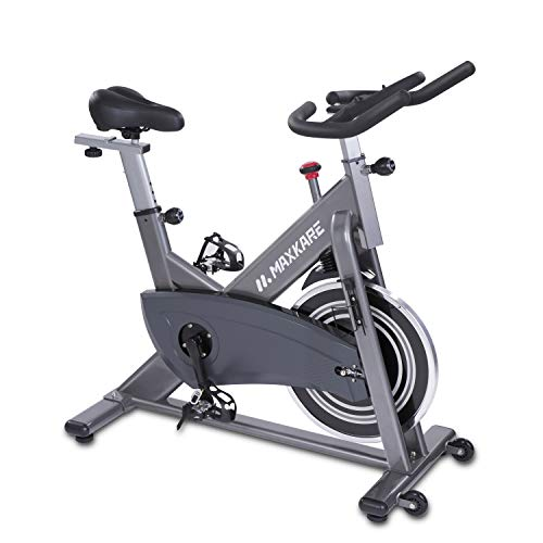 MaxKare Magnetic Exercise Bike Belt Drive,Stationary Indoor Cycling Bike with High Weight Capacity Adjustable Magnetic Resistance w/Tablet Holder (Gray)