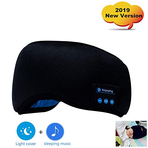 Bluetooth Sleep Eye Mask Headphones, 2019 New Version Wireless Sleeping Travel Music Eye Cover for Sleep up to 8 Hours Play Time