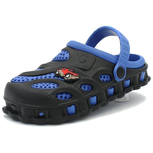 CAKI-AMETA Boys Kids & Toddler Garden Clogs Shoes Slip-On Casual Two-Tone Slipper Sandals (1 M US Little Kids, Black/Blue)