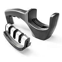 Knife Sharpener Easy Manual Kitchen Knife Grinder for Steel Knives and Ceramic Knives- Black
