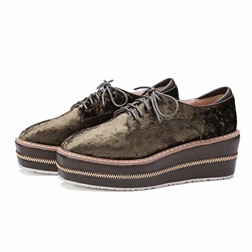 Carolbar Womens Lace-Up Comfort Casual Platform Wedges Oxfords Shoes Khaki WCakiq