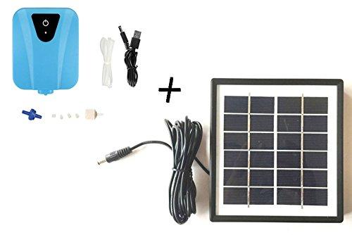 MyBreeze Solar-Powered Oxygenator Water Oxygen Pump Pond Aerator w/1 Air Stone Aquarium Airpump 2L/min (Pond Oxygenator)