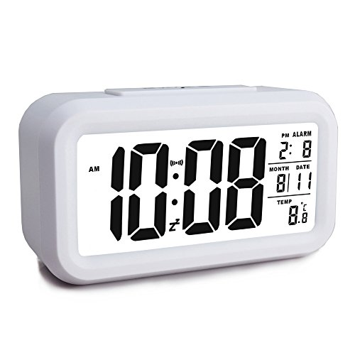 Ewtto Smart Digital Desktop Large LCD Display Alarm Clock with Calendar Temperature Snooze Backlight 4.6'' Display (White, 4.6inches)