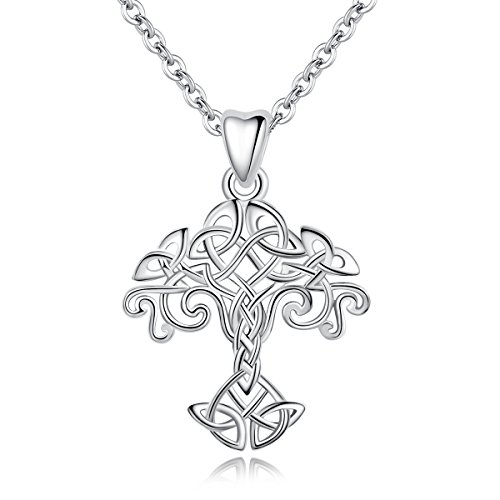 - INFUSEU Sterling Silver Family Tree of Life Celtic Knot Trinity Triquetra Triangle Eternity Infinity Pendant Necklace