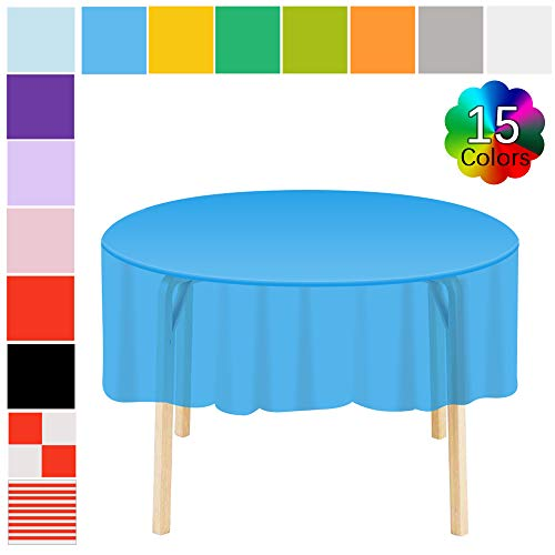Etmury Plastic Tablecloth 6 Pack Disposable Round Table Covers 83 in. x 83 in. Indoor or Outdoor Parties Birthdays Weddings Christmas(Dark Blue) -
