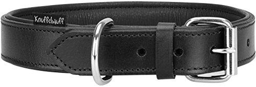 Knuffelwuff Weiches Lederhalsband Hund Hundehalsband Basic Plus Schwarz L 36-45 cm