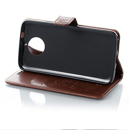 Funda Moto G5s Plus, Carcasa Moto G6 Plus, CaseLover Piel Libro Cuero Elefante Impresión Carcasa para Motorola Moto G5s Plus / G6 Plus con TPU Silicona Case Cover Interna Suave Flip Folio Tapa y Carte Marrón