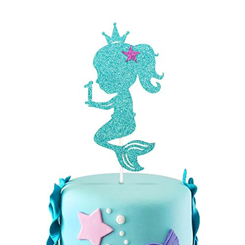 1st Mermaid Cake Topper One Little Girls Glitter Double Sided Baby Birthday Party Decorations (1st cake -